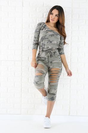 Sliced Camouflage Jumpsuit
