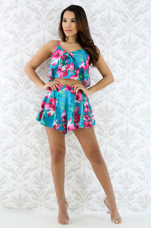 Tropical Floral Short Set