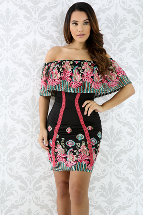 Mesh Floral Off Shoulder Dress