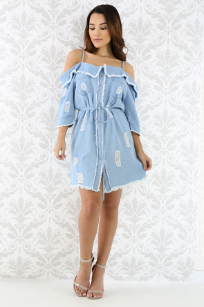 Off Shoulder Shredded Denim Dress