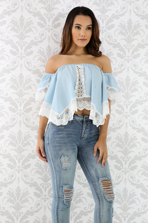 Denim Lace Top