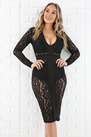 Lace See Through Bodycon Dress