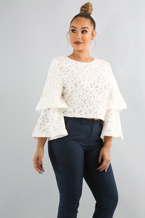 Floral Tier Bell Sleeve Top