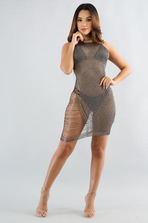 Metallic Shredded Dress