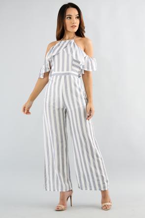 Pin Stripe Off Shoulder Jumpsuit