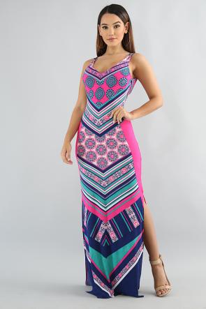 Chevron Burst Color Dress