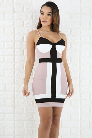 Trim Geo Bodycon Dress