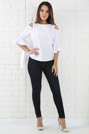 Flare Bell Cold Shoulder Top