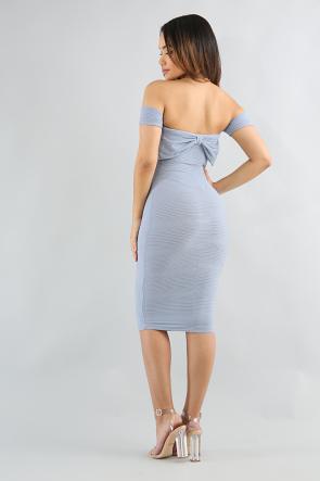 Pleated Off Shoulder Dress