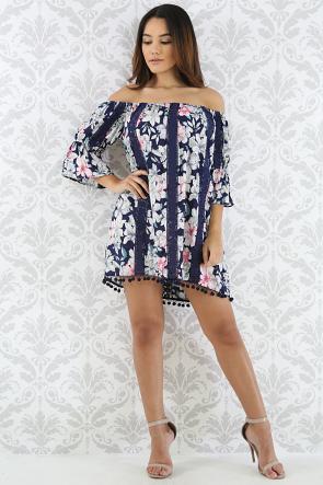 Floral Crochet Pom Pom Dress