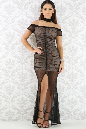 Night Out Choker Lace Maxi Dress