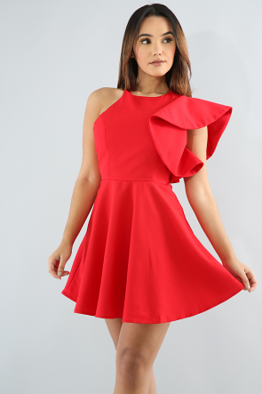 Flare Shoulder B0odycon Dress