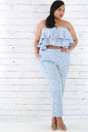 Floral Leaf Pants Set