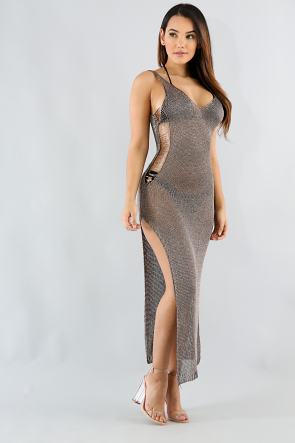 Sleeveless Metallic Dress
