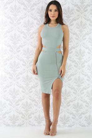 Cut Out Side Zip Dress