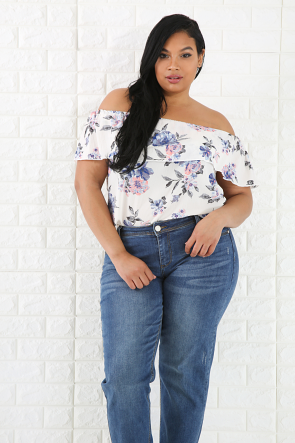Sweet Floral Flare Top