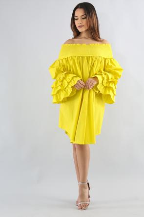 Scrunched Ruffle Wide Dress