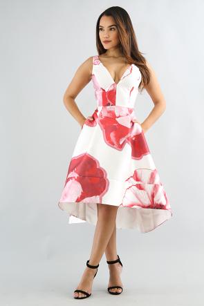 Big Floral Flare Dress