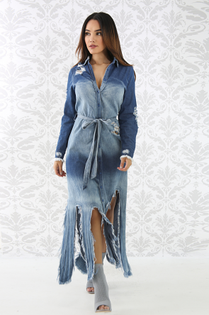 Raw Edge Distressed Denim Dress