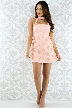 Floral Poppy Choker Dress