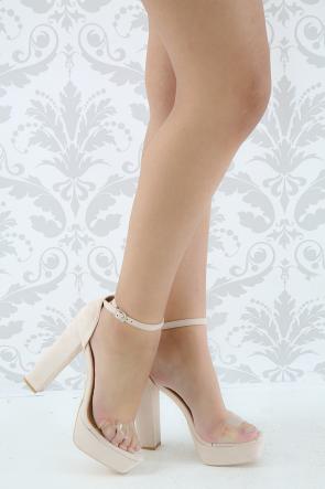 Suede Open Toe Chunky Platform Heel