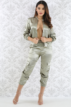 Bomber Silk Pant Set