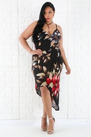 Overlay Choker Floral Dress