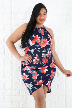Floral Scrunched Dress