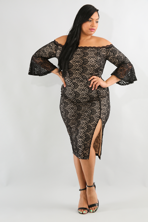 Off Shoulder Floral Lace Bodycon Dress