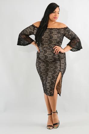 Off Shoulder Floral Lace Bodycon Dress