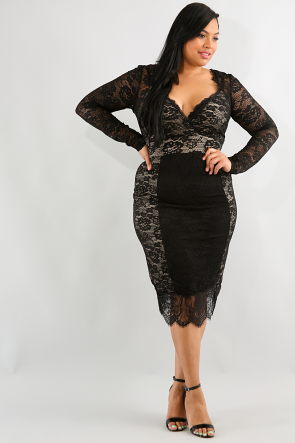 Mesh Lace Long Sleeve Dress