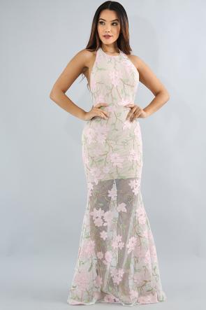 Rosy Floral Maxi Dress