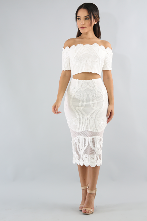Off Shoulder Crochet Skirt Set