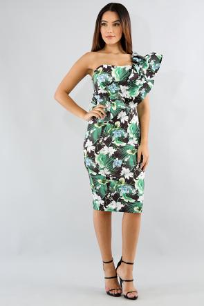 Swirly Tropical Bodycon Dress