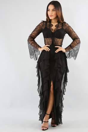 Lace Roche Maxi Skirt