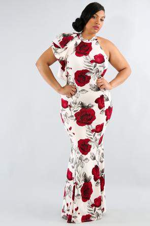 Floral Flare Shoulder Maxi Dress