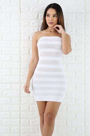 Striped Net Mini Dress