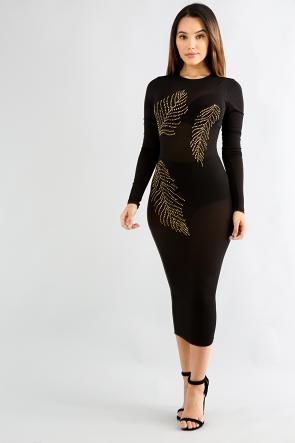 Leaf Rhinestone Sheer Maxi Dress