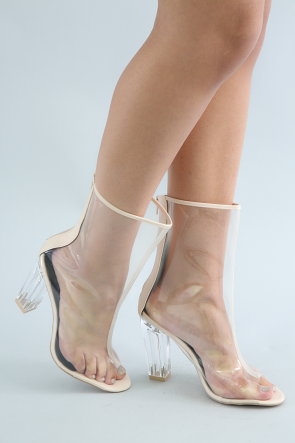 Lucite Open Toe Chunky Heeled Mid Calf Boots