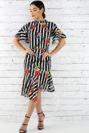 Floral Pinstripe Skirt Set