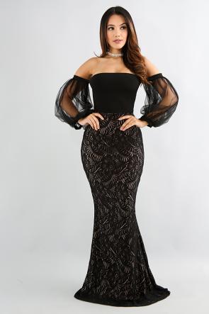 Sheer Puff Sleeve Mermaid Dress