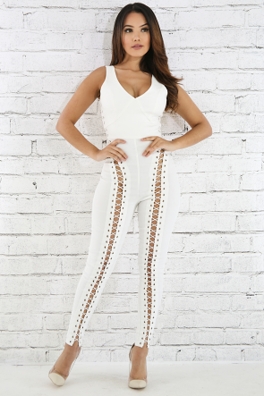Lace Up Eyelet Jumpsuit