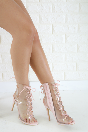 Lucite Peep Toe Lace Up Booties