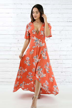 Floral Linen Tie Up Maxi Dress