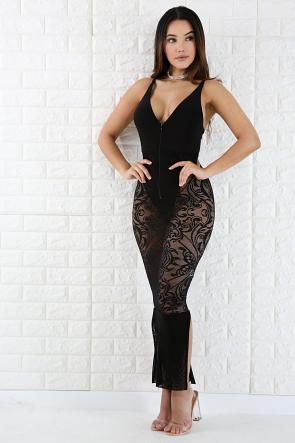 Lace Maxi Zip Up Dress