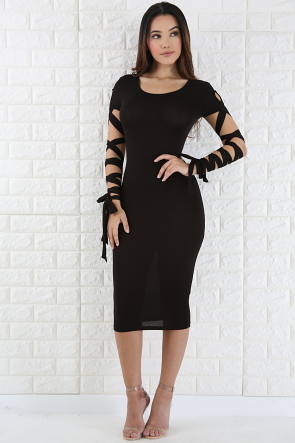 Tie Up Sleeve Body-con Dress