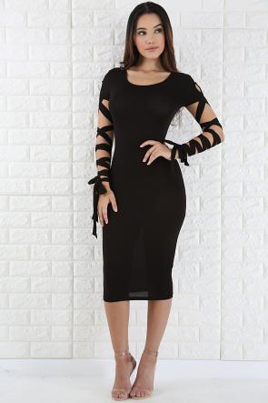 Tie Up Sleeve Body-con Dress