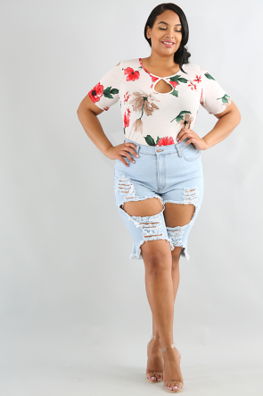 Floral Peep Bodysuit