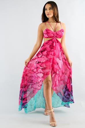High Low Three Tone Maxi Dress