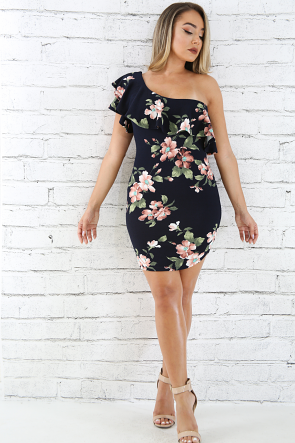 Floral Tiered Bardot One Sleeve Dress